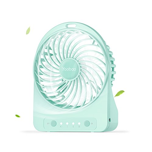 Yoobao F01 Mini Portable USB Rechargeable Battery Fan Table Desk Fan Indoor and Outdoor Quiet Travelling Handheld Fan with Led Light 3 Speeds - Mint Green