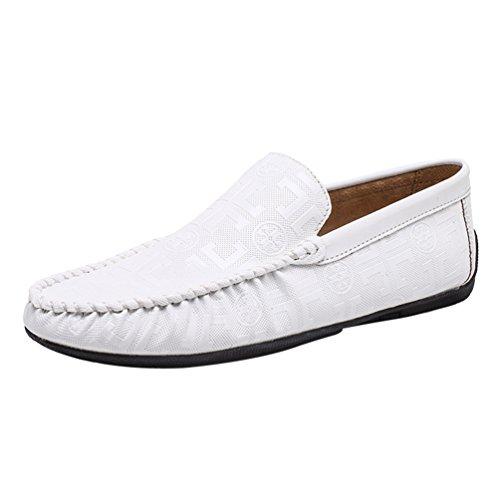 PU Slip Loafers Hommes Anguang On Blanc Mocassins Cuir Élégant Chaussures Bateau Business BxFwR6