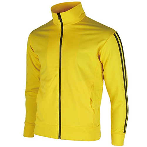 Running Jogging Track Suit Warm Up Jacket Gym Training Wear XXS US(S Asian Tag) Yellow ()