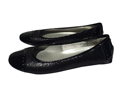 StyleUpGirl Womens Cap Studded Toe Canvas Black Flats 3mpclRm