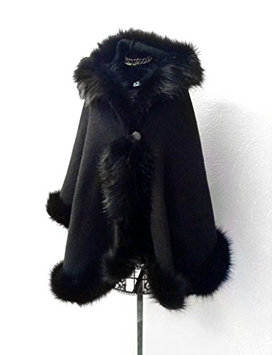 Elegant black half-woolen cloak with high quality faux fur by ScarecrowStudio