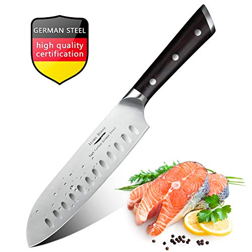 7' Wide Blade Chefs Knife - Santoku Knife Professional Chef Knife 7'' 3 Layers Composite German High Carbon Stainless Steel Kitchen Knife Ergonomic Handle Ultra Sharp Chopping Knife Resistant Chef Knives Best Choice for Kitchen