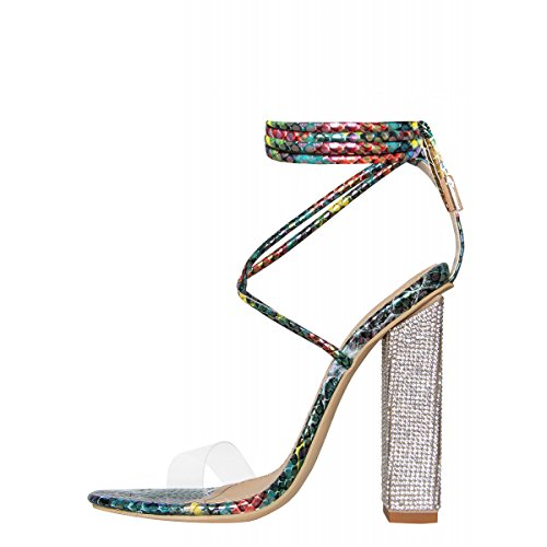 Hell&Heel Turquoise Multi Snake Clear Lace Up Diamante Heeled Sandals US 7 - Patent Gladiator Shoes
