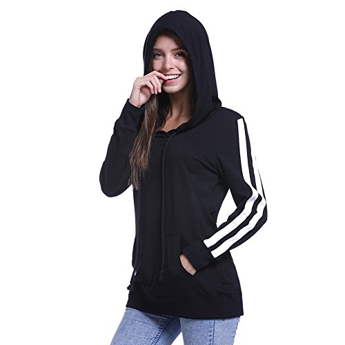 Striped Crossover (Fancyqube Women's Striped Long Sleeve Crossover V Neck Tunic Hoodie with Kangaroo Pocket Black S)