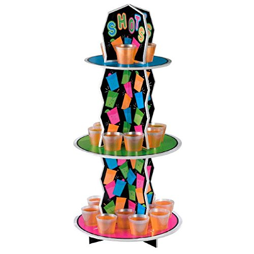 Party Ready Reusable Neon Shot Glass Stand Decoration  Plastic   21  X 9