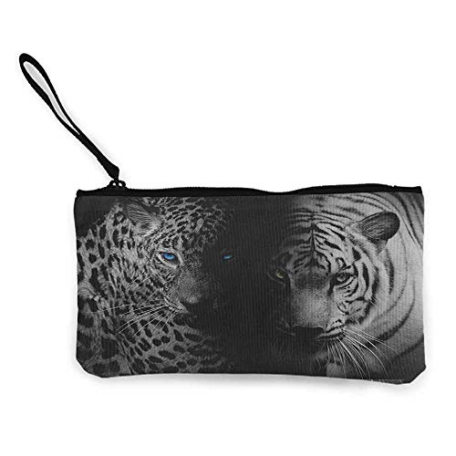 Women's hand bag clutch bag Black and White Leopards with Blue Eyes Aggressive Powerful Wildcat Profile Print Wallet Coin Purses Clutch W 8.5