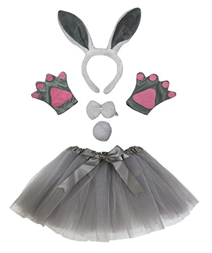 Petitebella Grey Bunny Headband Bowtie Tail Gloves Tutu 5pc Girl Costume (Grey)