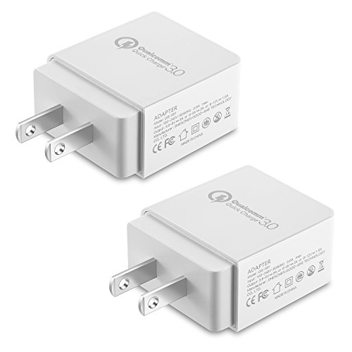 NEXGADGET Quick Charge 3.0 18W Wall Charger,Adaptive Fast Charger,Universal Portable USB Charger Plug Cube Compatible for iPhone X/8/7,iPad, Samsung, Android Phone and More, 2 Pack-White by NEXGADGET