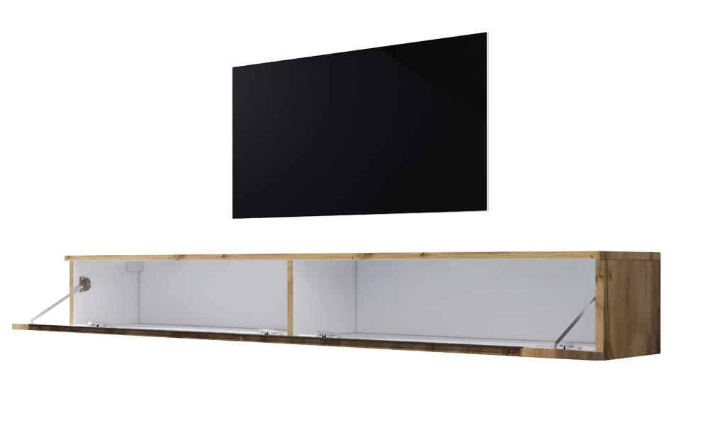 Fernsehschrank//Tv-Lowboard In Holzoptik Wotan Eiche Matt Hochglanz H/ängend Oder Stehend 180 cm Swift