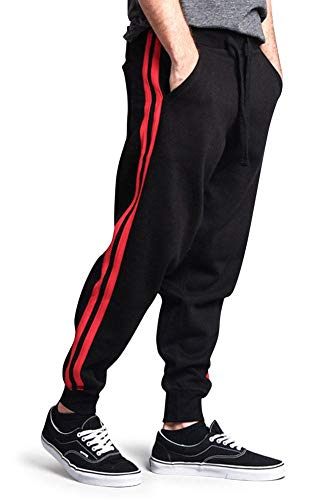 G-Style USA Premium Cotton Blend Two Stripe Loose Fit Fleece Sweatpants - MJ13122 - Black/Red - Medium