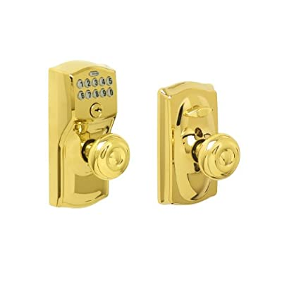 Schlage FE595 V CAM 505 GEO Camelot Keypad Entry with Flex-Lock and Georgian Style Knobs, Bright Brass