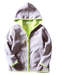 Boys Fleece Jacket Winter Soft Warm Zipper Up Hand Pockets Hooded Coat 2-8T