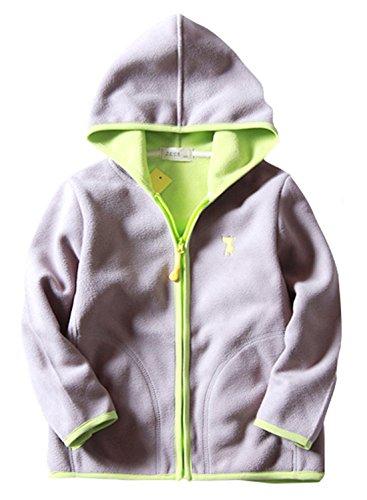 Unisex Boys Jacket Cartoon Animal Embroidered Zipper Up Fleece Coat for Kids School Uniform 7-8T Grey