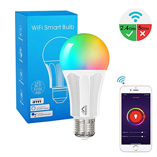 MoKo Smart LED Light Bulb, E26 9W Dimmable Light, RGB Warm White Light, Work with Alexa Echo,Google Home & IFTTT for Voice Control, Remote Control, No Hub, Only Supports 2.4GHz Network, White