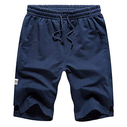 - YAYUMI Summer Men's Casual Pure Color Stretch Belt Belted Rope Sports Home Pants Navy