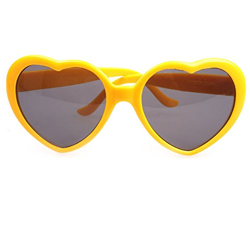 Armear Women's Heart Shaped Retro Plastic Sunglasses Lady Girl Fashion Large Oversized Cute Love Eyewear Yellow
