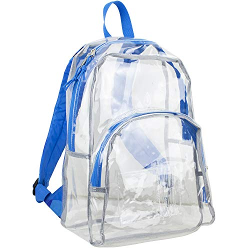 Eastsport Clear Backpack, Fully Transparent with Padded Straps, Clear/Blue Sky/J Shape Print ()