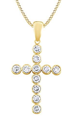 AFFY Cubic Zirconia Bezel Set Cross Pendant in14K Yellow Gold Over Sterling -