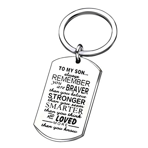 lauhonmin Son Key Chain Men Boy Gifts to My Son - You are Braver Stronger Smarter Than You Think Stainless Steel