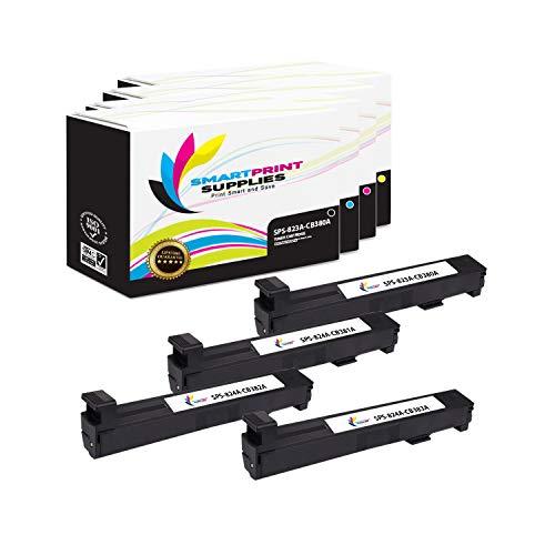 (Smart Print Supplies Compatible 823A 824A Toner Cartridge Replacement for HP Color Laserjet CP6015, CM6030 CM6040 Printers (CB380A Black, CB381A Cyan, CB383A Magenta, CB382A Yellow) - 4 Pack )
