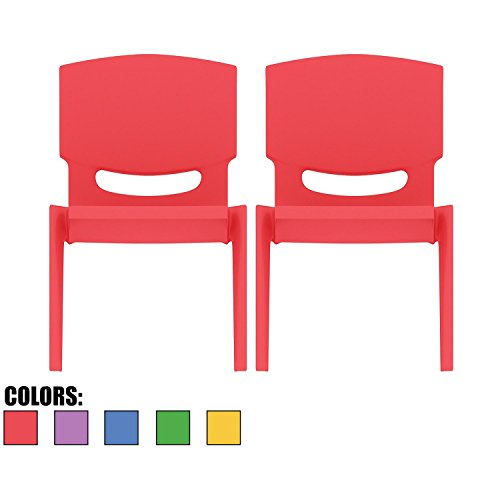 2xhome - Set of Two (2) - Red - Kids Size Plastic Side Chair 10'' Seat Height Red Childs Chair Childrens Room School Chairs No Arm Arms Armless Molded Plastic Seat Stackable by 2xhome