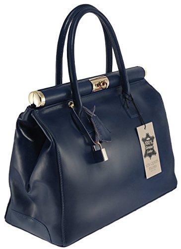 Femme 35x28x16cm élégant Dark Blue cuir avec en et bandoulière véritable CTM Satchel poignées Sac twq7O45P
