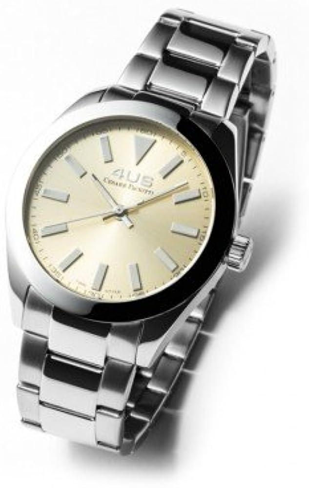 Reloj Mujer Solo Tiempo, Caja de Acero 38 mm, Esfera champán con índice Blancos, Correa de Acero: Amazon.es: Relojes