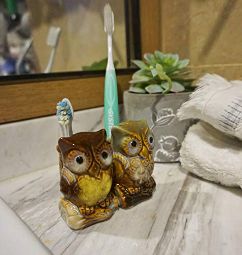 Designhoarder Cute Ceramic owl Kids Couple Toothbrush Holder Stand for Bathroom Vanity Accessories and Storage rv Cabinet Farmhouse Bathroom Decor Pack of 2 (Owl Accessories Bathroom)