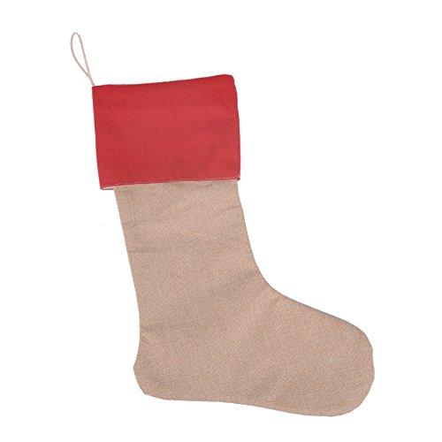 AIJIAO Beige Burlap Linen Christmas Stockings for Children's Santa Gift Sacks /Red (Linen Christmas Stocking)