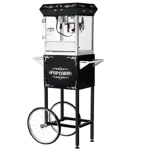 Great Northern Popcorn Black 6 oz. Ounce Foundation Old-Fashioned Movie Theater Style Popcorn Popper With Cart