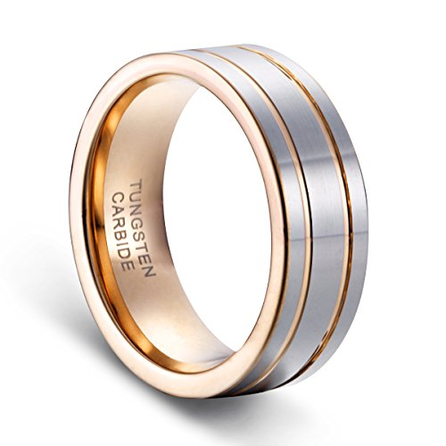 TUSEN JEWELRY 8mm Men's Double Grooved Rose Gold Plated Wedding Band Ring Tungsten Rings by TUSEN JEWELRY