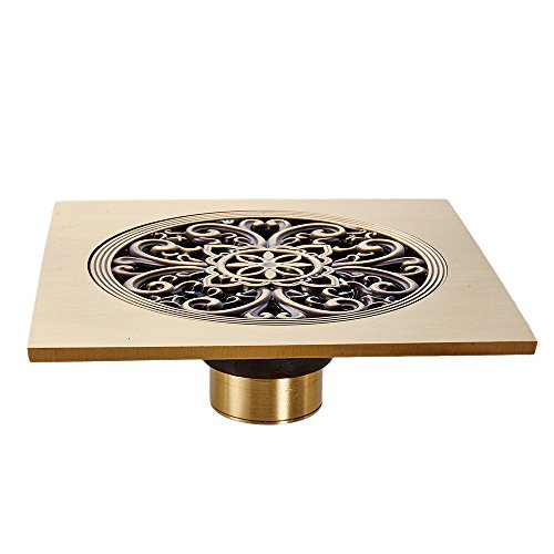 OWOFAN Shower Floor Drain with Removable Strainer, 5.9 Inch Square Brass Antique Bathroom Kitchen Strainer Grate, Antique Basement Floor Drain