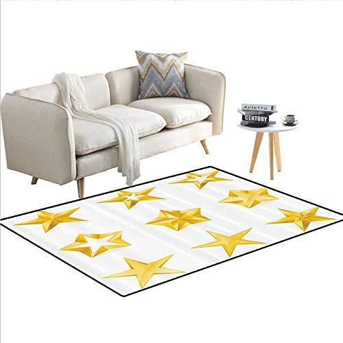 Yellow Decor Collection Area Rugs Different Types and Forms and Shapes of Gold Stars Christmas Winter Illustration for Design Suitable for Children Bedroom Home Decor Rugs 4'x6' Golden ()