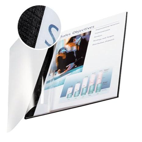 Leitz, 73980035, Copertine rigide, ImpressBind, Dorso da 3.5 mm, Confezione da 10 pezzi, Superficie in lino, Copertina anteriore trasparente, Blu Esselte