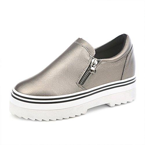 lado del resorte de la cremallera zapatos de plataforma gruesa corteza/zapatos/pu/Bajo para ayudar a los zapatos casuales/zapatos del estudiante dentro de la más alta C