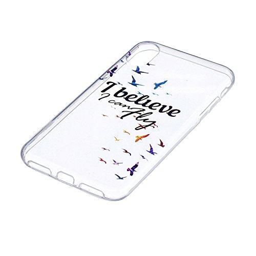 iPhone X Hülle Freier Vogel Premium Handy Tasche Schutz Transparent Schale Für Apple iPhone X / iPhone 10 (2017) 5.8 Zoll Mit Zwei Geschenk