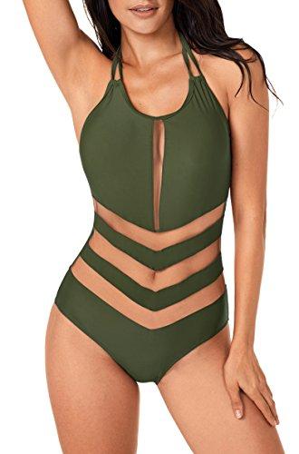 Fancyskin Womens Bathing Suit Sexy Halterneck Mesh One Piece Monokini Swimsuit