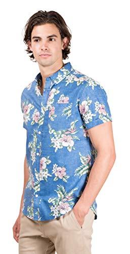 71b23471 Brooklyn Athletics Men's Hawaiian Aloha Shirt Vintage Casual Button Down Tee
