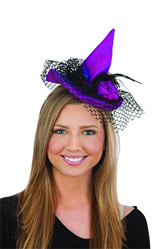 Jacobson Hat Company Women's Mini Witch Hat Headband, Purple, Adult