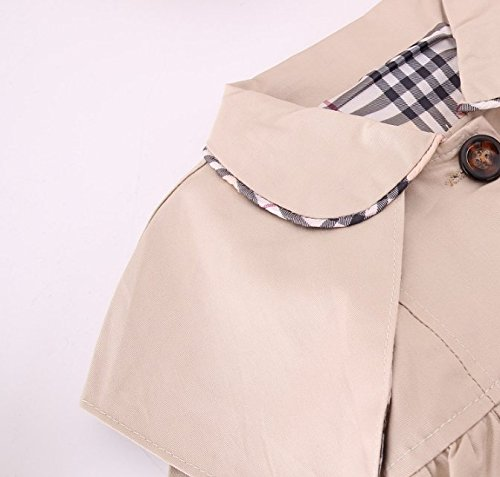 Kids Baby Girl Spring Autumn Trench Coat Fashion Wind Proof Jacket Khaki 9-12 Months/Tag 8 by MNLYBABY (Image #2)