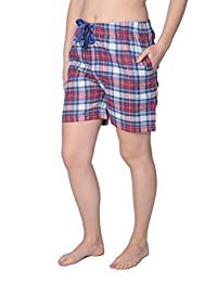 Women's 100% Cotton Plaid Lounge Sleep Shorts Available in Plus Size