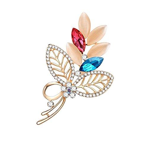 Vktech Fashion Crystal Brooches Women Rhinestone Hollowed Leaf