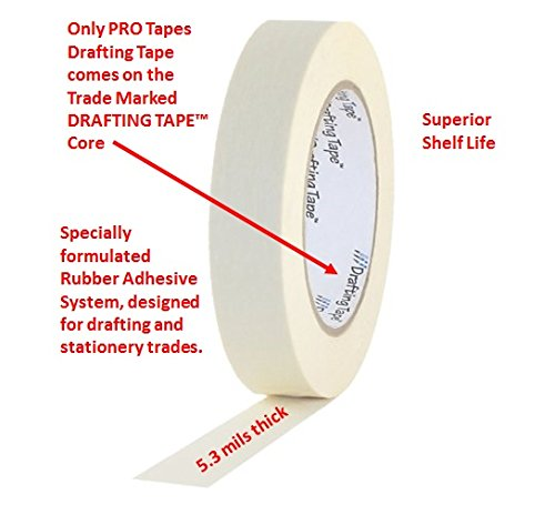 ProTapes Pro Drafting Crepe Paper Industrial Grade Masking Tape, 60 yds Length x 1/2