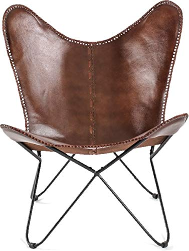 Retro Butterfly Chair Vintage Industrial Style Metal Leg Upholstered Genuine Leather Small Furniture Seat Room Decor Side Arm Less Seater Garden Hallway Deck Porch Star Unit Dark Tan Brown Art Design Vintage Home