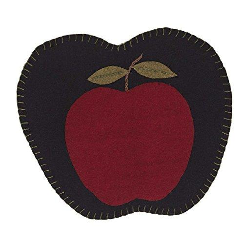 VHC Brands Thanksgiving Holiday Tabletop & Kitchen Harvest Red Apple Felt Tablemat Set of 6
