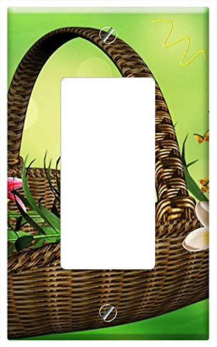 Arrangement Lily Basket (Switch Plate Single Rocker/GFCI - Basket Of Flowers Flower Arrangement Lilies)