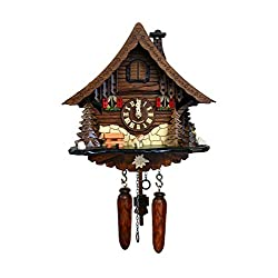 Alexander Taron 471QM Engstler Battery-Operated Cuckoo Clock - Full Size - 9.75 H x 10 W x 6.5 D Brown