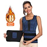 Waist Trainer Corset for Weight Loss Women Thermal Underwear Tops Trimmer Sweat Sauna Vest (Blue, XL)