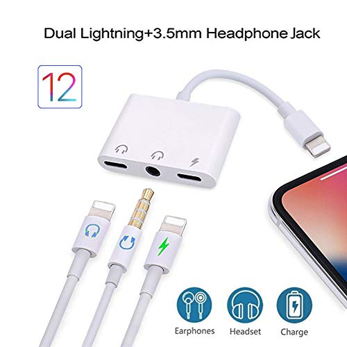 GEOP Compatible for iPhone X iPhone Xs/Xs Max iPhone 8/8Plus iPhone 7/7Plus 3 in 1 Headphone Splitter with 3.5mm Headphone Jack Audio Adapter Fast Charge Splitter (White) (Audio Adapter Lead)