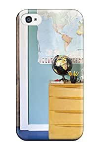 For Iphone 4/4s Protector Case Kids Room With Blue-green Wall Color Displays A World Map Phone Cover